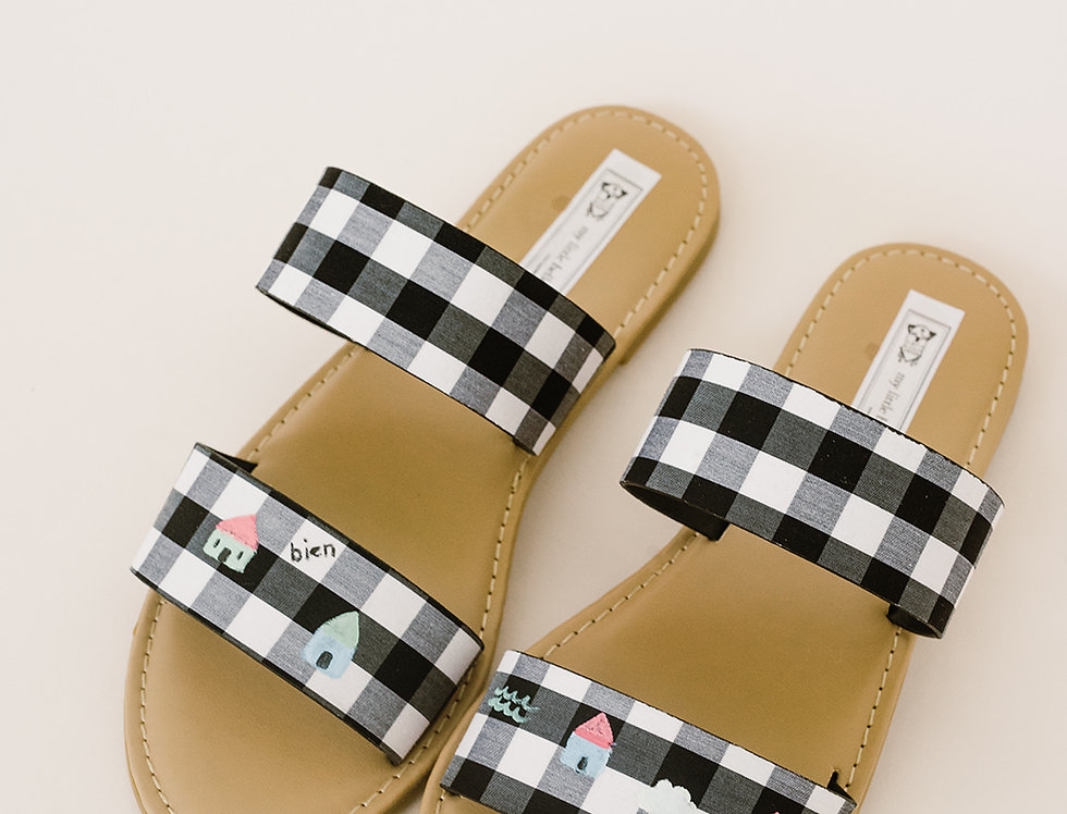 Hand-Painted Blythe Gingham Sandal