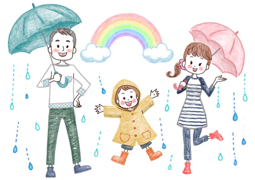 雨の日の家族