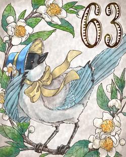 お茶の花とオナガ