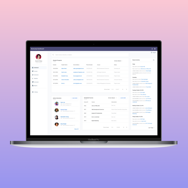 A learning management application for online training courses