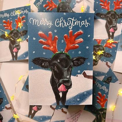 10 cards Christmas Calf