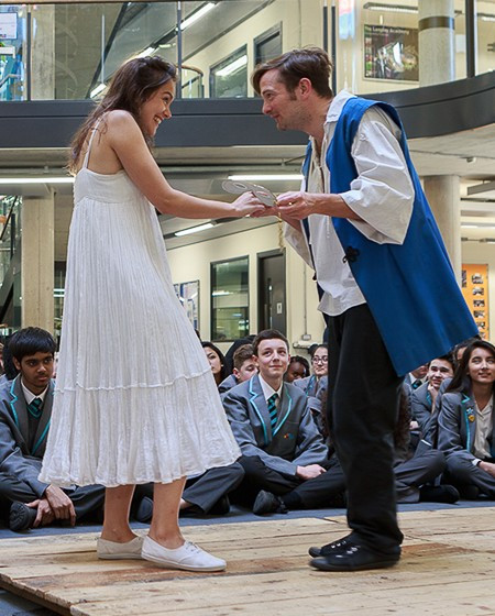 As Juliet in Romeo and Juliet for The Globe PLayers