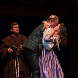 As Juliet, with Romeo (Jack Forsyth-Noble) and the Friar (Michael Watson-Grey)