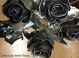 A bouquet of metal roses.