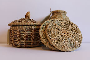 Ponderosa pine needle baskets.