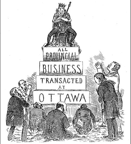 A tall statue stating 'All provincal business transacted at Ottawa', with a king sitting on top, staring down at men bowing to it.