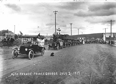 An auto parde in Prince George in 1917.