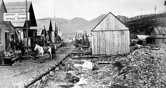 Barkerville in 1865, rebuilt after the Great Fire.