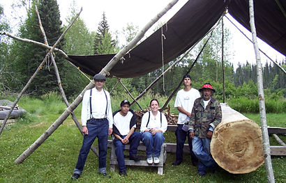 Work begins on the dugout canoe at Huble Homestead in 2005.