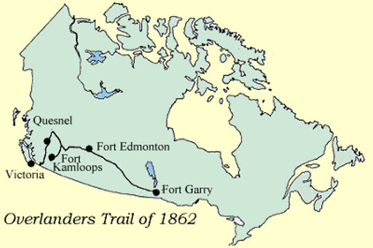 A map of the Overlander Trail of 1862.