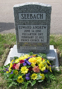 Edward Seebach's grave marker at the Memorial Park Cemetery.