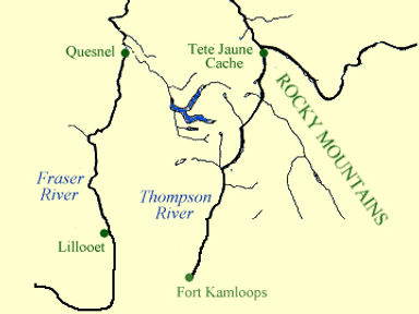 A map of the Fraser and Thompson Rivers.
