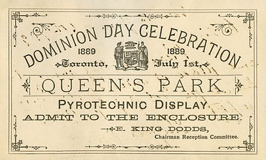 An admission ticket to a fireworks display that was part of Dominion Day celebrations in 1889.
