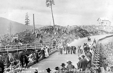 Dominion Day celebrations on Hastings Street in Prince Rupert in 1909