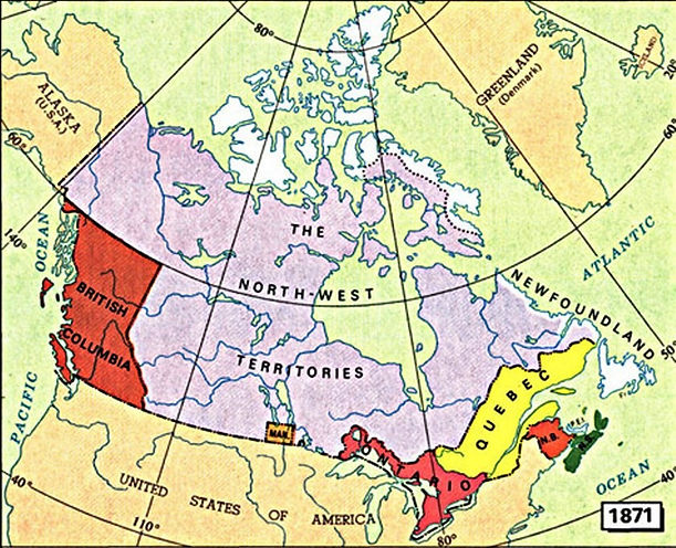 A map of Canada in 1871, after Confederation