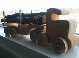 Wooden logging truck created by Karl Moncher.