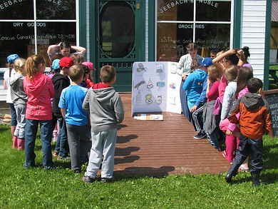 A class plays the Homestead Game during a visit to Huble Homestead.