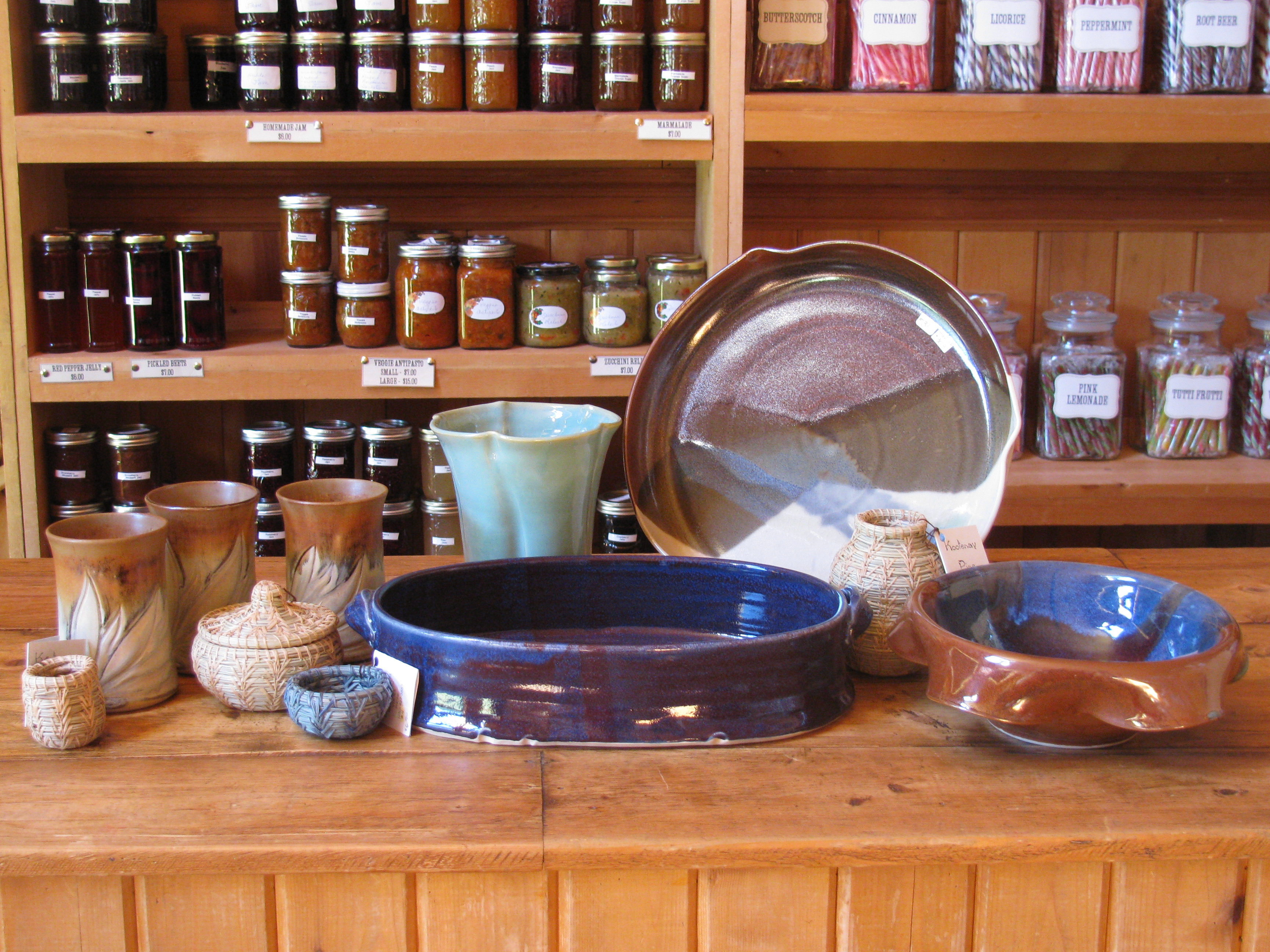 Locally made pottery.