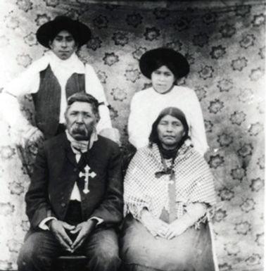 Lheidli Chief Louis with his family, circa 1900.
