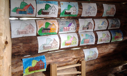 Completed colourng sheets hung in the Welcome Barn.