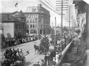 Dominion Day celebrations on Hastings Street in Vancouver in 1900