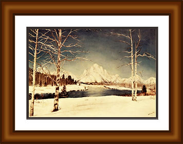 RA Snow scene 18x24 frame-mat 14x20 prin