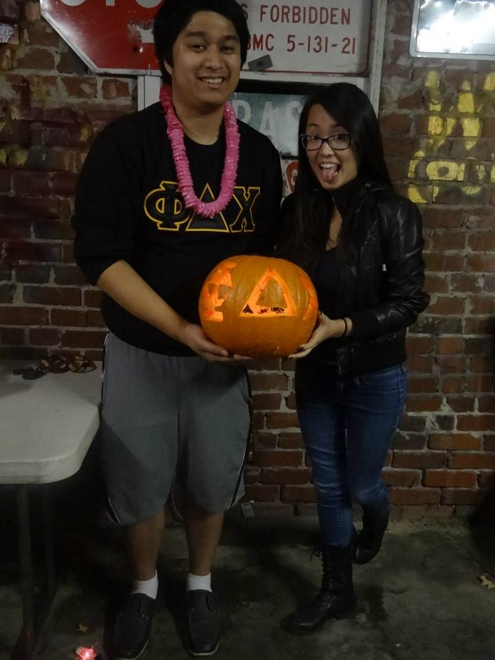 Phi Delta Chi carved into the pumpkin