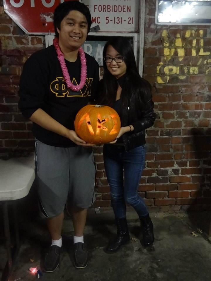 Lambda Kappa Sigma carved into the pumpkin!