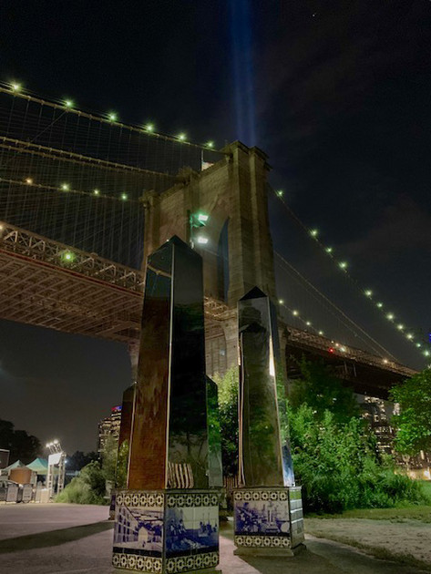 9/11 Memorial lights over Brooklyn Bridg