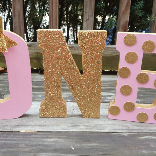 Pink And Gold Bow Polka Dot 1st Birthday Letters