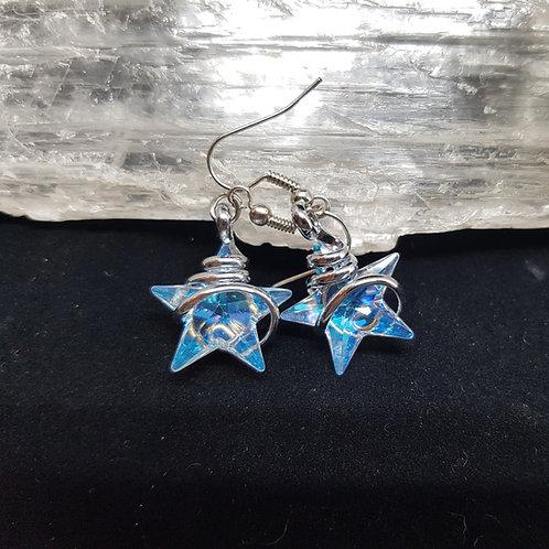 Blue Aurora Borealis Star Earrings