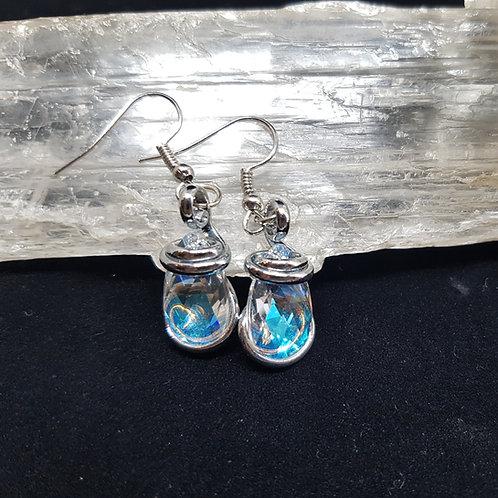 Blue Aurora Borealis Teardrop Earrings