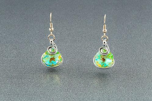 Peridot Aurora Borealis Octogonal Earrings