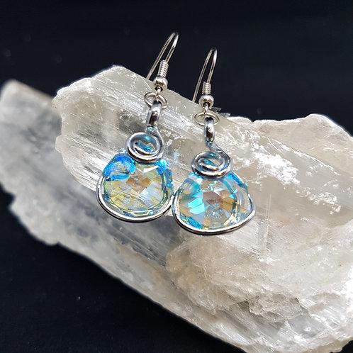Turquoise Aurora Borealis Octogonal Earrings