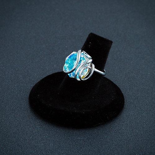 Blue Aurora Borealis Octogonal RIng