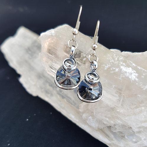 Silver Night Rivoli Earrings
