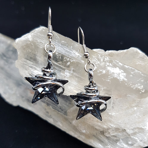 Silver Night Star Earrings