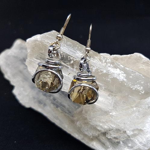 Gold Shadow Octogonal Earrings
