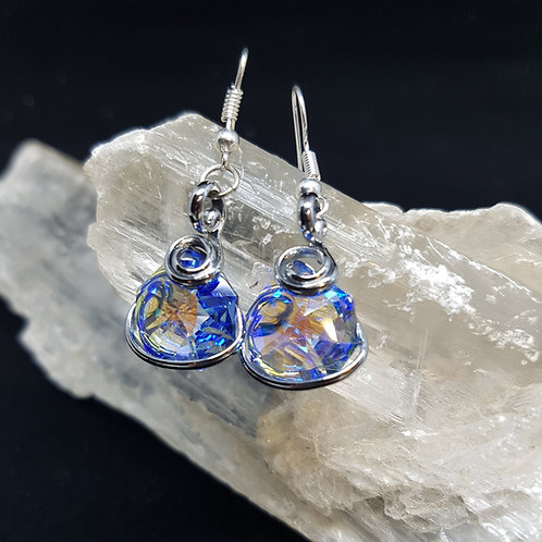 Sapphire Aurora Borealis Octogonal Earrings