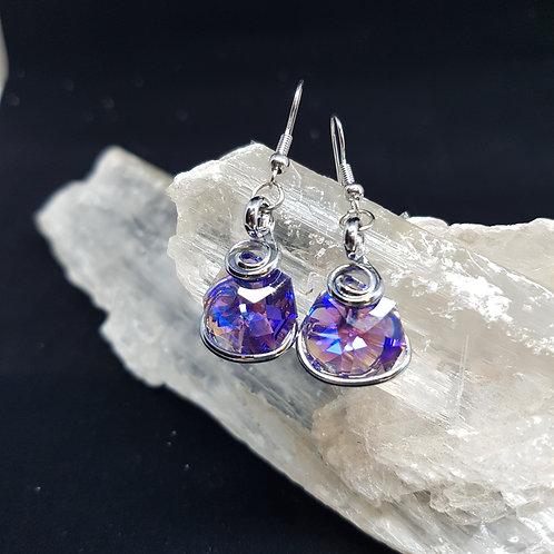 Purple Aurora Borealis Octogonal Earrings