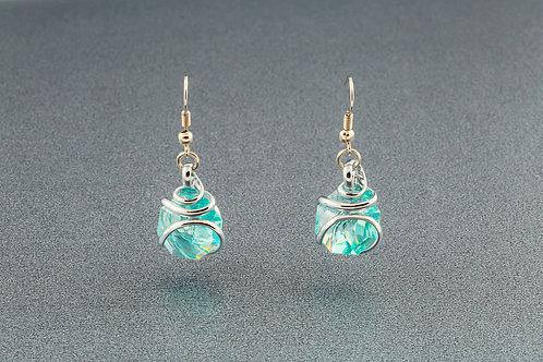 Antique Green Blue AB Earrings