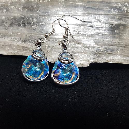Blue Aurora Borealis Octogonal Earrings