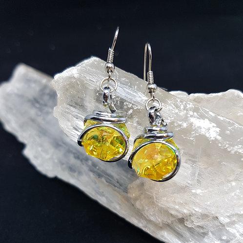 Lemon Aurora Borealis Octogonal Earrings
