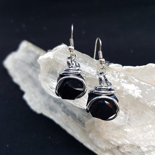 Jet Octogonal Earrings