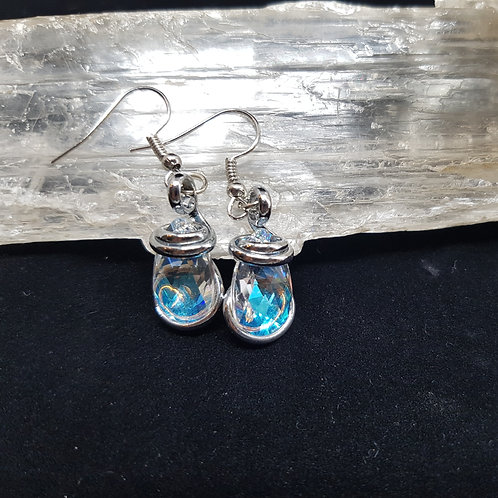 Blue Aurora Borealis Teardrop Earrings