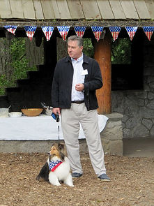 Judge Bryan Chushcoff and Winston campaigning at Point Defiance Park