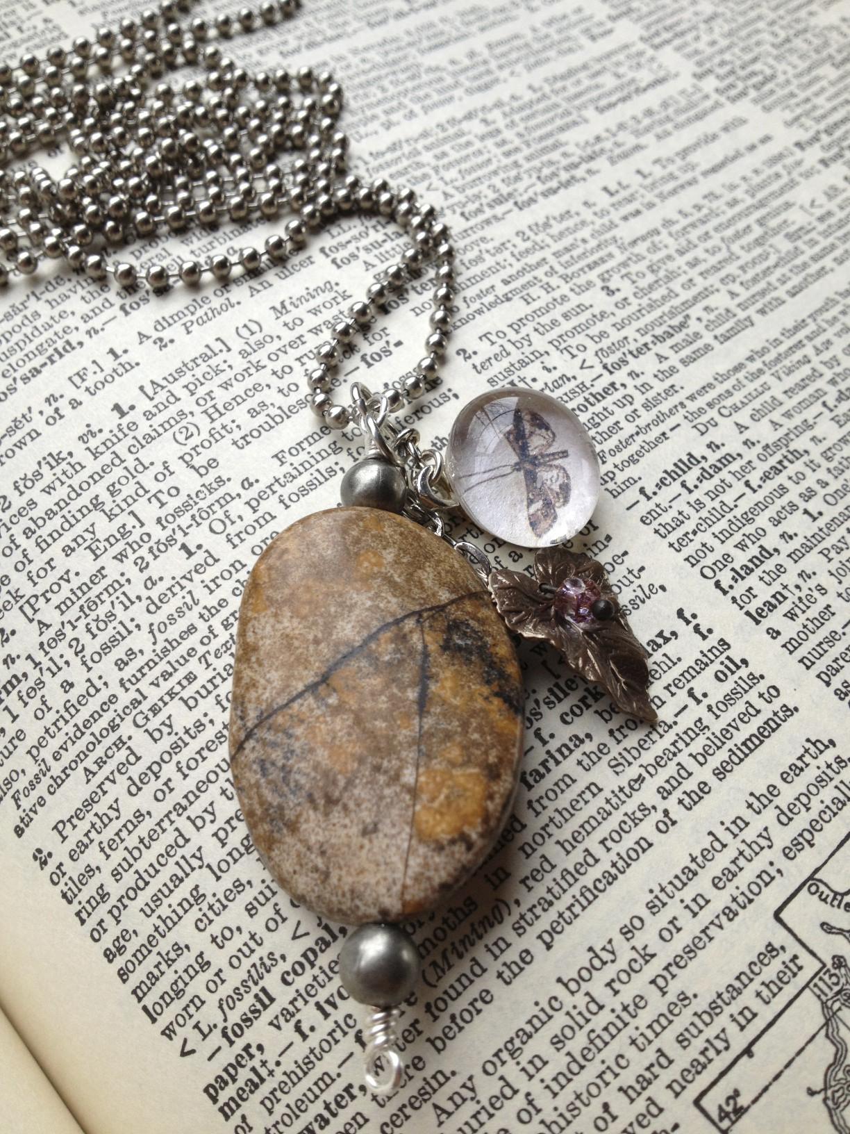 The Fossil Hunter Necklace by local, Gig Harbor artist, Jennifer Preston Chushcoff