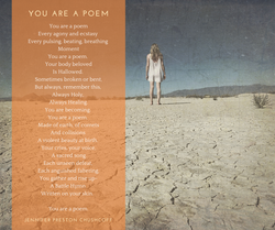 """""""You are a Poem"""" postcard. Poetry and photography by Washington State artist, Jennifer Preston Chush"""