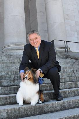 Judge Bryan Chushcoff and his Sheltie, Winston at the Washington State Capitol