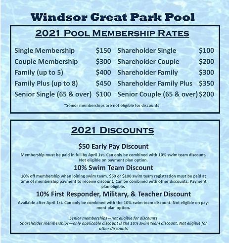 2021 Pool Memberships & Discounts Update